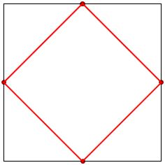 This is a good example of a curve that can be made up from lots of straight lines. Much like the geometric construction of the parabola. Challenge: if the black square has area 1, what is the area of the white shape in the middle? EDIT: Challenge 2, can you show this area is twice the probability that on a square dartboard, you will hit a point closer to the centre than to the edge?