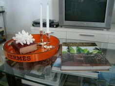 Hermes tray with candles LOVE, for my office