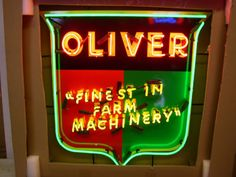OLIVER-TRACTORS-NEON-SIGN Antique Tractors, Ol, Man Cave, Neon Signs, Decorations, Rustic, Gift Ideas, Country Primitive, Decoration