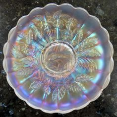 SCARCE-Northwood-PEACKOCK-AND-URN-White-Carnival-Glass-Master-Ice-Cream-Bowl  $200