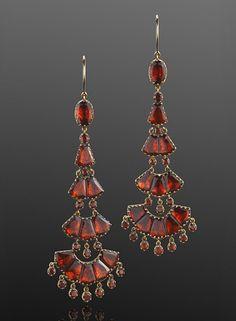 Georgian Foil-backed Hessonite Garnet Chandelier Earrings