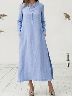 Plus Size Stand Collar Dress Shift Daily Long Sleeve Solid Maxi Dress Shift Dresses, Women's Dresses, Dresses Online, Fashion Dresses, Summer Dresses, Dress Outfits, Sleeve Dresses, Party Outfits, Sweater Outfits