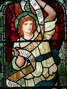 Gorgeous Arts and Crafts window by Henry Holiday at St Oswalds Grasmere. I visited the graves of the Wordsworth family in the churchyard here. Stained Glass Church, Stained Glass Angel, Stained Glass Windows, Church Windows, Pre Raphaelite, Mother Mary, Religious Art, First Night, Bunt
