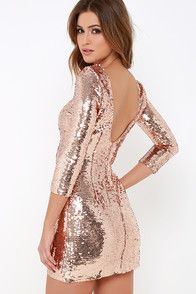 Fun Rose Gold Dress - Sequin Dress - Bodycon Dress - $69.00