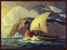 NC Wyeth Viking ship - See originals at the Brandywine River Museum, Chadd's Ford, PA