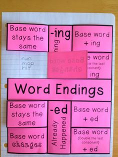 Word Endings Journal Page