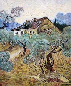 Vincent van Gogh - 'The White Cottage Among the Olive Trees' - (1889)