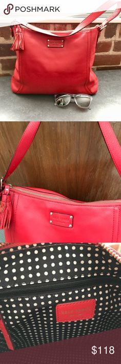 Red ❤️💋👠💄Kate Spade tote! Free 🎁 w/ purchase This leather tote is in great condition! It has just a bit of wear on the bottom as shown in the pic. The color is fun & the classic black & white polka dot interior is very clean. It has 3 interior pockets. 2 are phone size & one is a larger zip pocket. kate spade Bags Totes