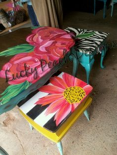 My signature.over any pattern Whimsical Painted Furniture, Painted Benches, Hand Painted Chairs, Painted Stools, Hand Painted Furniture, Funky Furniture, Refurbished Furniture, Recycled Furniture, Art Furniture