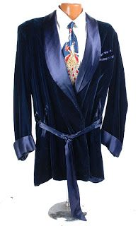 O'Brien also has on a smoking jacket in the scene within his home...this one is from the 1950s- Jakia