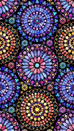 """GORGEOUS stained glass window fabric """"painted rose windows"""" by logan_spector (sp. Stained Glass Tattoo, Stained Glass Quilt, Stained Glass Windows, Glass Painting Designs, Paint Designs, Arabesque, Stained Glass Church, Rose Window, Spoonflower Fabric"""
