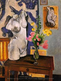 The Plaster Torso : Henri Matisse : Post Impressionism : interior - Oil Painting Reproductions Henri Matisse, Matisse Art, Art And Illustration, Arte Inspo, Kunst Inspo, Matisse Paintings, Picasso Paintings, Oil Paintings, Van Gogh