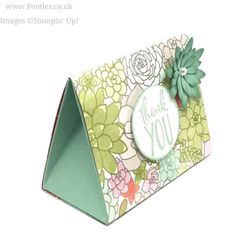 Succulent Garden Tent Box Stampin' Up! Demonstrator Pootles – Succulent Garden Tent Box Oh oh! It's so pretty! I love this paper. It's been my stand out star from the Spring Catalogue and I canR… Diy Garden, Garden Boxes, Garden Crafts, Succulent Gardening, Succulents Garden, Organic Gardening, Paper Gifts, Diy Paper, Paper Art