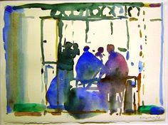 """""""Im Caffee Marokko"""", Aquarell von Oskar Koller Watercolor Sketch, Watercolor Portraits, Watercolor Paintings, Watercolours, Painting People, Sketches, Christian, Figurative, Pictures"""