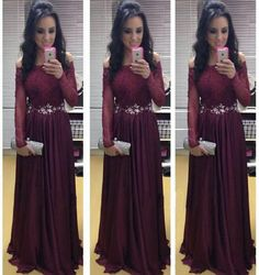 Long Sleeves Off Shoulder Dark Wine Prom Dress,Formal Long 2017 Evening Dress, PS264