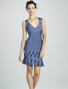 Herve Leger A-LINE Mirah V-Neck Ruffled Hem Bandage Dress