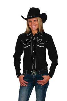 c3703bade97 Womens Cotton Retro Western Cowboy Shirt-Black-Small Western Express http