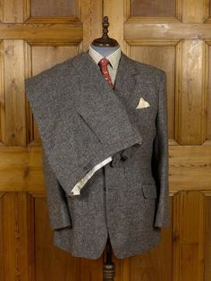 17/1080 (dc) immaculate vintage savile row bespoke grey donegal weave 3-piece heavyweight tweed suit 43-44 long