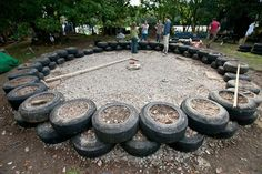 earth homes with tires | Rammed earth tire foundation