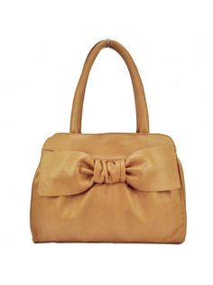 Faux Leather Zippered Big Bow Handbag