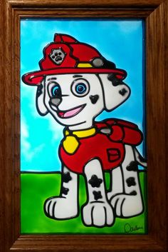 Marshall Paw Patrol Window Art faux stain glass sun catcher dog firefighter firefighter Nickelodeon Nick Jr. boy bedroom gift toddler decoration child
