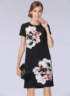 Polyester Floral Short Sleeve Above Knee Casual Dresses (1019339) @ floryday.com