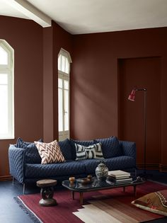 Jotun Colour Collection 2017 | dramatic wall color \ paint \ warm palette \ eclectic styling \ living room