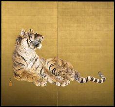 Asian Art | Ohashi Suiseki - Pair of folding screens depicting two tigers - The Curator's Eye