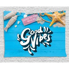 Good Vibes Tapestry, Good Summer Vibes Gone to The Beach Holiday Theme with Nautical Elements, Wall Hanging for Bedroom Living Room Dorm Decor, 80W X 60L Inches, Blue Marigold Pink, by Ambesonne #beachthemedweddings Themed Weddings, Holiday Themes, Beach Holiday, Marigold, Dorm Decorations, Beach Themes, Summer Vibes, Nautical, Tapestry