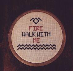Handmade Cross-Stitch Twin Peaks Fire Walk With Me heckkate.etsy.com