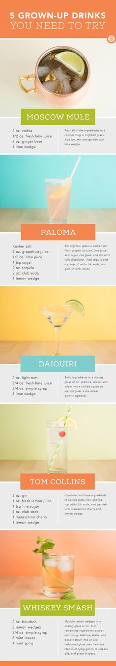 5 Grown-Up Drinks You Need to Try — When you're tired of Redbull vodkas and Jägerbombs, try these tasty drinks that are also super easy (and impressive!) to make at home. #sophisticated #cocktails #boozing #greatist