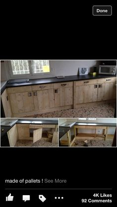 Pallet kitchen... I LOVE it!! Yep, eith concrete counter top... here we go!!