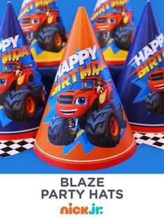 Give your child's guests official Blaze and the Monster Machines party hats made from FREE printables.