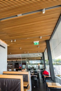 Looking to incorporate an acoustic timber ceiling in an exciting new McDonalds design Landini Associates reached out to Decor Systems for options. Timber Ceiling, Decorative Panels, Mcdonalds, Acoustic, Outdoor Decor, Projects, Design, Home Decor, Log Projects