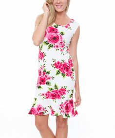 Another great find on #zulily! Fuchsia & White Floral Sheath Dress by White Mark #zulilyfinds