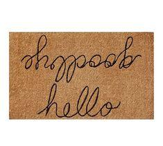 Hello/Goodbye Doormat #potterybarn - outside front door