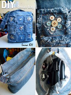 DIY - My Denim Bag I love the button patches! This I'd like to make. No button patches on the knees, though! (There was no link beyond the photo).