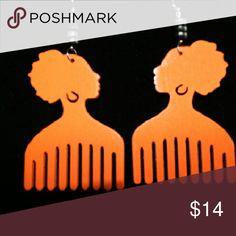 Jewelry Orange wooden earrings Jewelry Earrings