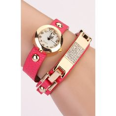 Women Vintage Leather Strap Watches Auger Bracelet Rivet Dress... (6.09 CAD) ❤ liked on Polyvore featuring jewelry, rivet jewelry and bracelet jewelry