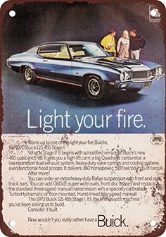 1970 Buick GS 455 Stage I Vintage Look Reproduction Metal Tin Sign 12X18 Inches ** Visit the image link more details. Note:It is affiliate link to Amazon.