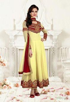 USD 103.21 Monica Bedi Cream Embroidered Long Anarkali Suit