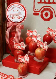 Girly Firetruck Party by Wendy from Green Beansie Ink! What a cute and fresh idea! Cute apples that double as decor!