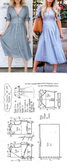 Vestido chamisie com pala DIY molde corte e costura Baby Dress Patterns, Baby Clothes Patterns, Easy Sewing Patterns, Clothing Patterns, Skirt Patterns, Coat Patterns, Blouse Patterns, Couture Vintage, Diy Couture