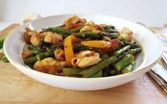 Sautéed Chicken with Asparagus and Peppers