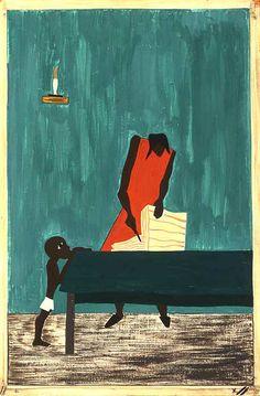 Jacob Lawrence, an artist of the Harlem Renaissance one of my favorites Art And Illustration, Illustrations, African American Artist, African American History, American Artists, American Women, British History, Native American, Renascimento Do Harlem