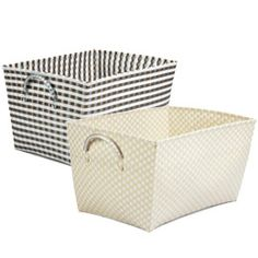 "Woven Nylon Laundry Basket - $25 - don't love the colors but darker one is ok..   22"" x 17"" x 12-3/4"" h"