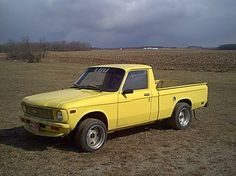 """Yellow Chevy Luv: first car sophomore year high school. The stick shift was a billiard 8 ball and I listened to a boom box as my """"beat. Those were the days! Small Trucks, Mini Trucks, Gm Trucks, Cool Trucks, Pickup Trucks, Chevrolet Trucks, Chevrolet Logo, Utility Bed, Chevy Luv"""