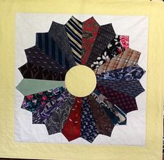 """Dresden Plate from Men's Neckties with Yellow Borders.  Finished size is 40"""" by 40"""".  Ties have been washes and interfacing is removed.  I can make a Keepsake Quilt for you.    More pictures of quilts at DebbieLangeQuilting.blogspot.com   Email to DebbieLangeQuilting@gmail.com.  Facebook at Debbie Lange Quilting"""