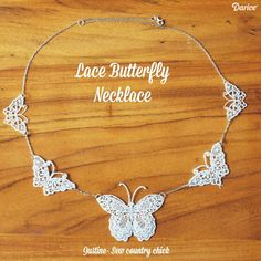 Butterfly Necklace Tutorial: Make Your Own Lace Butterfly Jewelry Lace Necklace, Lace Jewelry, Fabric Jewelry, Simple Necklace, Body Jewelry, Diy Jewelry Projects, Jewelry Crafts, Handmade Jewelry, Butterfly Jewelry