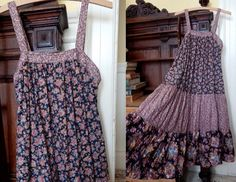 Vintage 70's or 1980's Young Edwardians tiered calico hippie dress camisole halter summer festival prairie midi